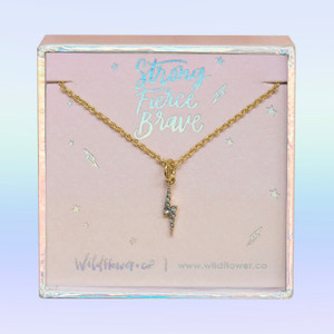 JW00461-GLD-OS-DYO - Tiny Gold Lightning Bolt Necklace - Crystal Pave & Gold - Charm Pendant - Strong Fierce Brave - Celestial Cosmic - Wildflower + Co. Jewelry