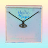 JW00464-HEM-OS-DYO - Evil Eye Necklace - Black Crystal Diamond & Hematite - Charm Pendant - You're Magic - Wildflower + Co. Jewelry