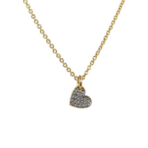 Dainty Gold Heart Necklace - Heart Necklace, Pave Crystal & Gold - Tiny - Delicate - Wildflower + Co. Jewelry