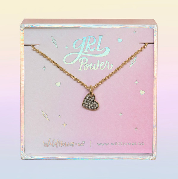 JW00465-GLD-OS-DYO - Dainty Heart Necklace -Crystal Pave & Gold - Charm Pendant - Love Grl Pwr - Wildflower + Co. Jewelry