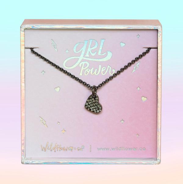 JW00466-HEM-OS-DYO - Dainty Heart Necklace -Black Diamond Crystal Pave & Hematite Black - Charm Pendant - Love Grl Pwr - Wildflower + Co. Jewelry
