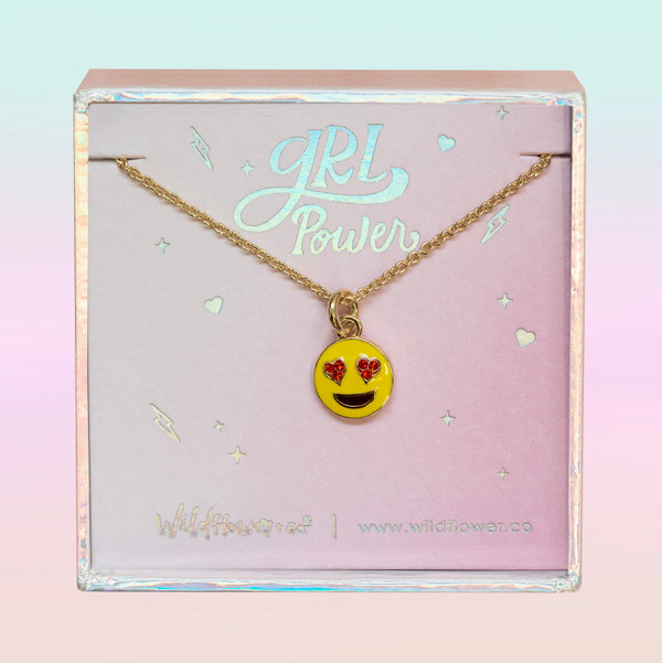 JW00468-GLD-OS-DYO - Love Emoji - Heart Eyes Charm Necklace - Enamel Pave & Gold - Charm Pendant - Cute Quirky - Wildflower + Co. Jewelry