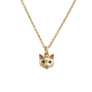 Cat Necklace, Gold - Dainty Gold Cat Necklace - Kitten - Cute - Wildflower + Co. - Tiny