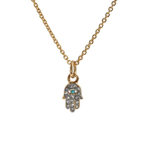Hamsa Necklace, Pave Crystal & Gold