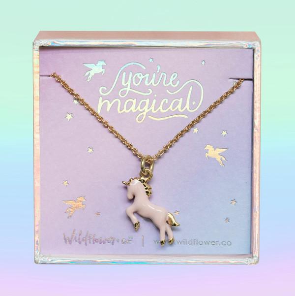 JW00477-GLD-OS-DYO - Unicorn Necklace - Pink Unicorn Enamel & Gold - Charm Pendant - You;re Magical - Cute Girly - Wildflower + Co. Jewelry Box