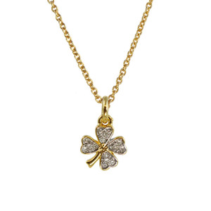 Dainty Gold Four Leaf Clover Necklace - Four Leaf Clover Necklace, Pave Crystal & Gold - Delicate - Simple - Wildflower + Co.