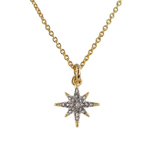 Dainty Gold North Star Necklace - North Star Necklace, Pave Crystal & Gold - Wildflower + Co.