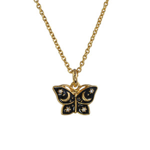 Mystical Butterfly Necklace, Black & Gold - Wildflower Co.