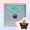 JW00487-GLD-OS-DYO - Butterfly Necklace - Black Enamel & Gold - Charm Pendant - Night Moon Celestial - Wildflower + Co. Jewelry