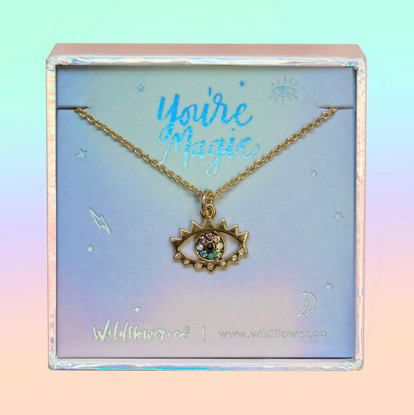 JW00484-GLD-OS-DYO - Rainbow Evil Eye Necklace - Pave & Gold - Charm Pendant - You're Magic - Wildflower + Co. Jewelry