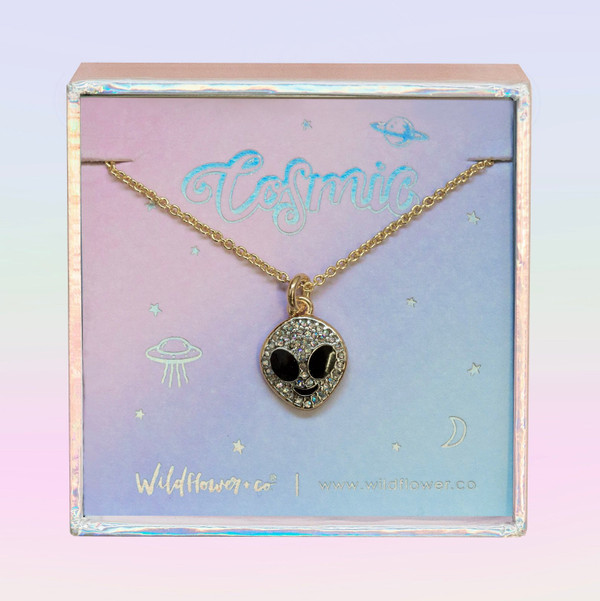 Alien Necklace, Iridescent Crystal & Gold - Wildflower + Co. Jewelry Gift