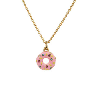 Donut Necklace, Pink & Gold