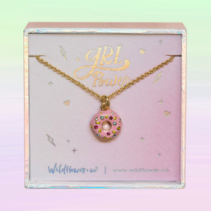 JW00488-GLD-OS-DYO - Donut Necklace - Pink Frosting Rainbow Pave Sprinkles & Gold - Charm Pendant - Cute Food Foodie Snack Queen - Wildflower + Co. Jewelry