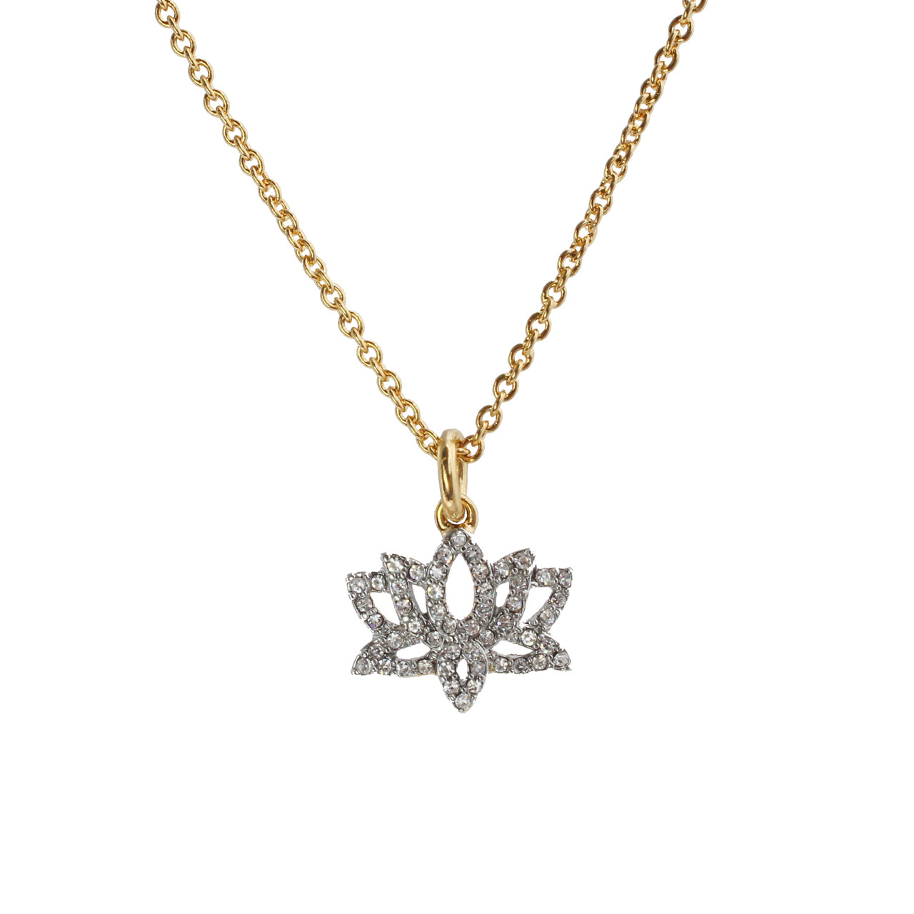Lotus Necklace, Pave Crystal & Gold