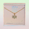 JW00493-GLD-OS-DYO - Lotus Necklace - Dainty Gold Pave Charm - purity divine beauty - Wildflower +Co. Jewelry