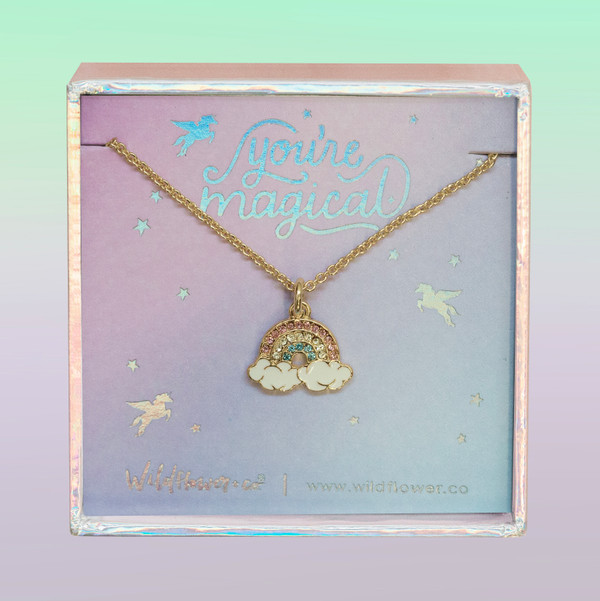 JW00494-GLD-OS-DYO - Rainbow Necklace - Pastel Pave Crystals & Gold - Charm Pendant - You're Magical - Cute Girly - Wildflower + Co. Jewelry