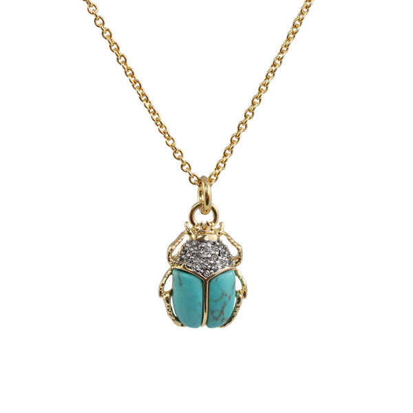 Scarab Necklace, Turquoise & Gold - Wildflower + Co.