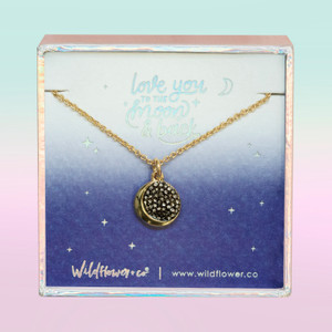 JW00497-GLD-OS-DYO -Moon Medallion Necklace -Black Diamond Crystal Pave & Gold - Charm Pendant - Space Cosmic - Love You to the Moon & Back - Wildflower + Co. Jewelry