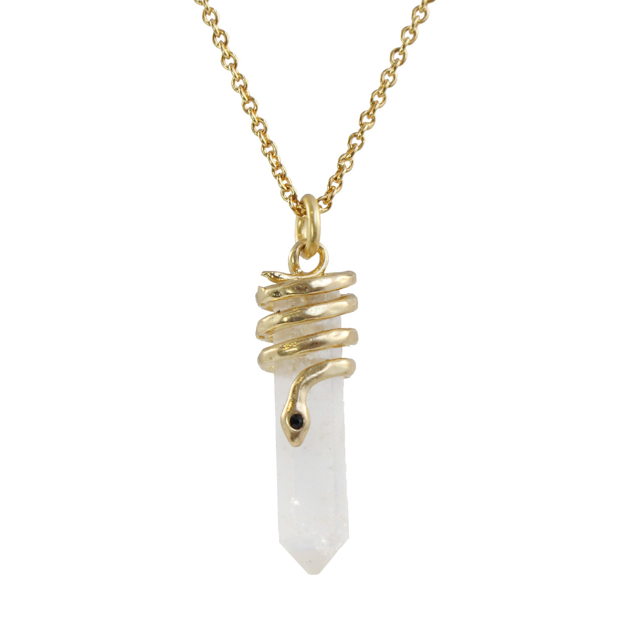 Snake Crystal Necklace, Clear Quartz & Gold