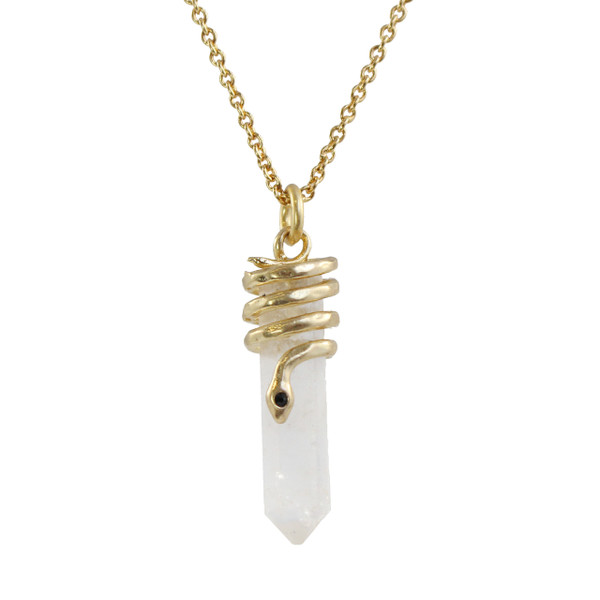Snake Crystal Necklace, Clear Quartz & Gold - Wildflower + Co.