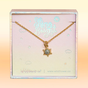 JW00508-GLD-OS-DYO - Sun Necklace - Dainty Gold & Pave Crystal - Summer Sunshine Sun - Wildflower + Co. Jewelry