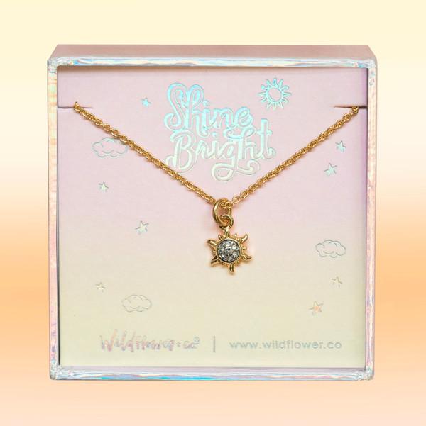JW00508-GLD-OS-DYO - Sun Necklace - Dainty Gold & Pave Crystal - Summer Sunshine Sun - Wildflower + Co. Jewelry