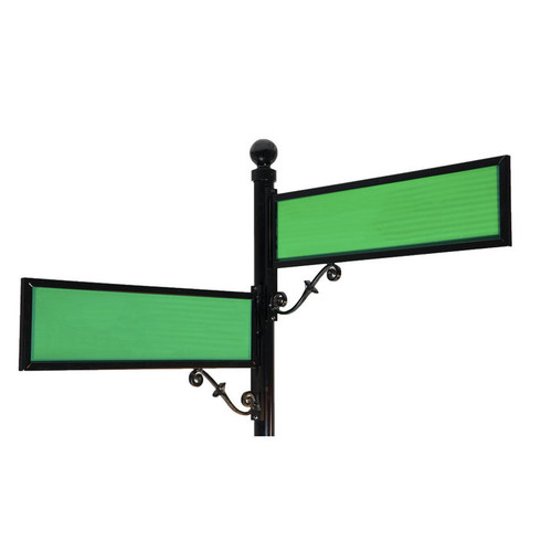 "Aluminum Scroll Sign Frame 9"" by 36"" with Green Blades"