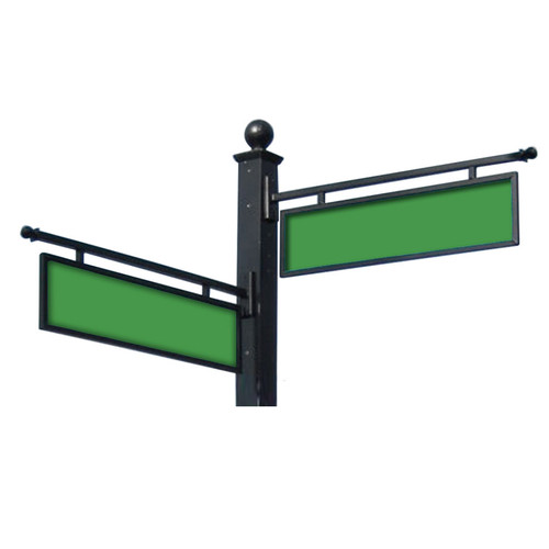 "Aluminum Hanging Sign Frame 9"" by 36"" with Green Blades"