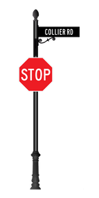 Aluminum Combination Stop Sign and Street Sign - Corinthian Base