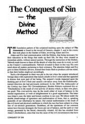 The Conquest of Sin; the Divine Method