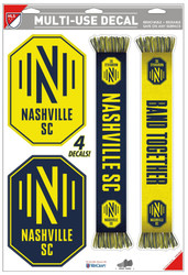 "Nashville Soccer Club Team Crests -Set of 4 Licensed Decals 11"" x17"""