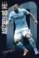 MANCHESTER CITY AGUERO Official Soccer Player Poster 2015/16-#303