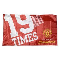 "MANCHESTER UNITED FC ""19 TIMES""  Style Licensed Flag 5' x 3'"