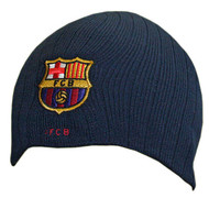 BARCELONA FC Official Ribbed Navy Beanie Hat