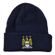 MANCHESTER CITY FC Official Navy Cuffed Beanie Hat
