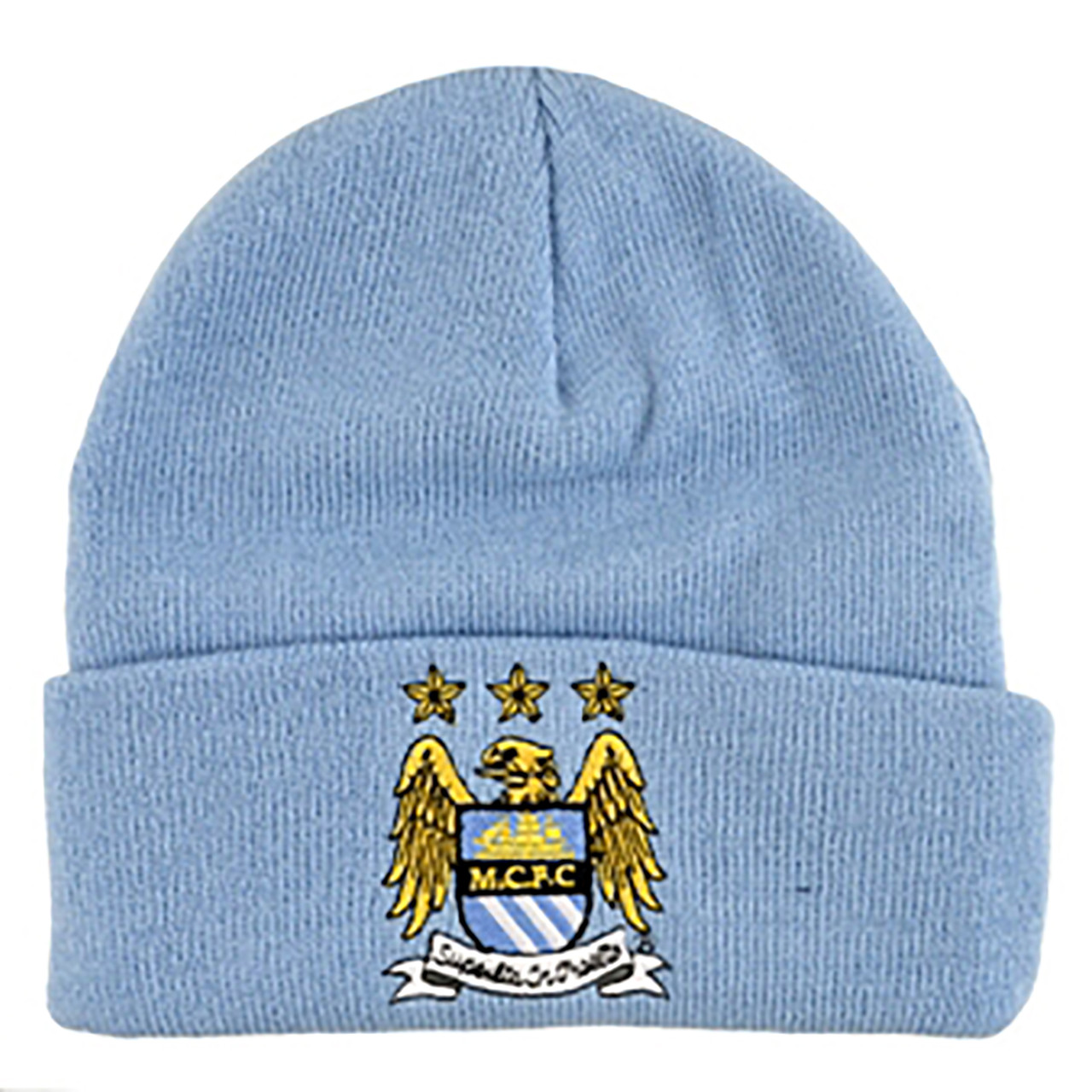ccf631747c9 MANCHESTER CITY FC Official LIght Blue Cuffed Beanie Hat.  22.95. Image 1