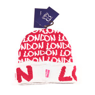 ROBIN RUTH London Fushia/ White Cuffed Beanie Hat