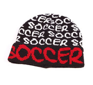 ROBIN RUTH Soccer Black/ Red Beanie Hat with Cuff