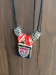 US NATIONAL SOCCER TEAM Lifetile Necklace with Beads