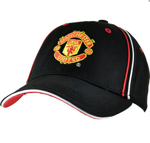 Manchester United Fc Official Epl Black W Piping Baseball Cap