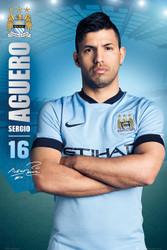 MANCHESTER CITY FC Official Sergio Aguero Poster 14/15-#120