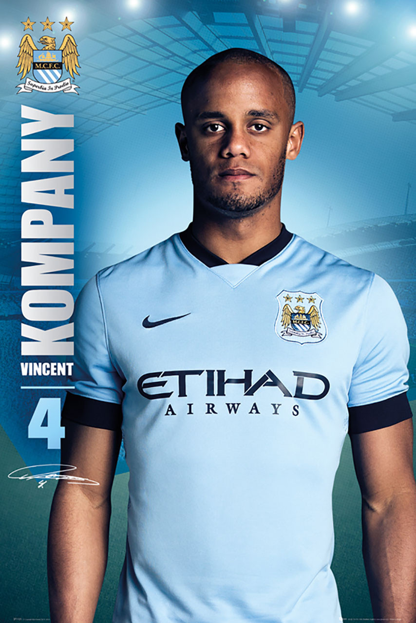 100% authentic 760b5 21c4b MANCHESTER CITY FC Official Vincent Kompany Poster 14/15-#121