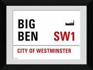 LONDON Framed Photos- Big Ben Street Sign