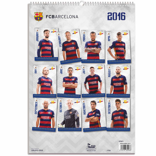 Barcelona FC Official Team Calendar 2016 (BACK) - Buy Online SoccerMadUSA.com