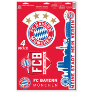 "Bayern Munich Team Crests -Set of 4 Licensed Decals 11"" x17"""