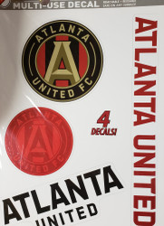 "Atlanta United Team Crests -Set of 4 Licensed Decals 11"" x17"""