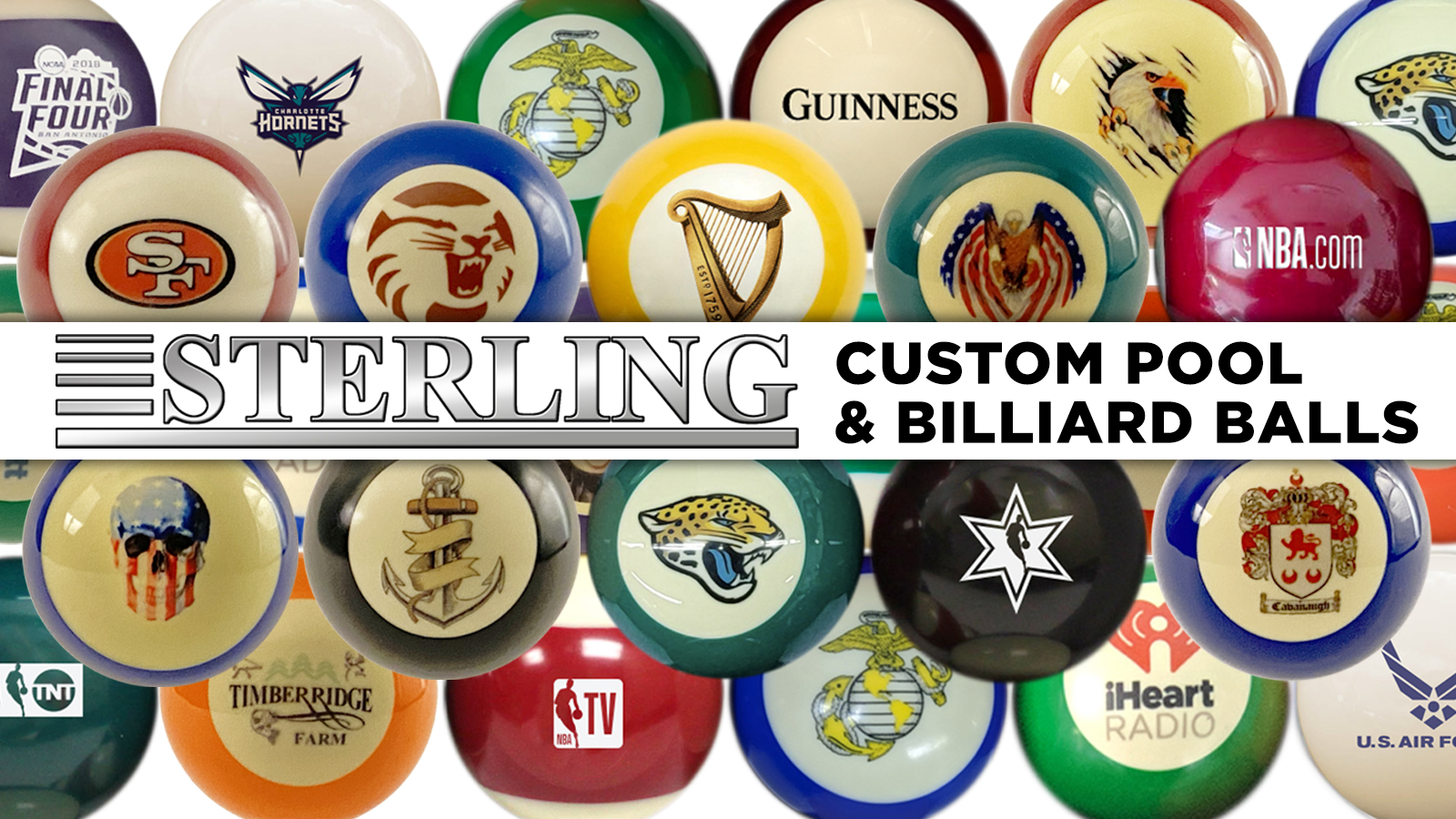 A collection of customized billiard balls created by Sterling Gaming.