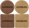 Set of Six Custom Laser Engraved Leatherette Coasters