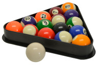 "Miniature Pool and Billiard Balls Set by Sterling - 1-1/2"" - with Triangle Rack"