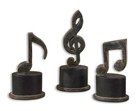 Music Notes, Sculpture, Set Of 3